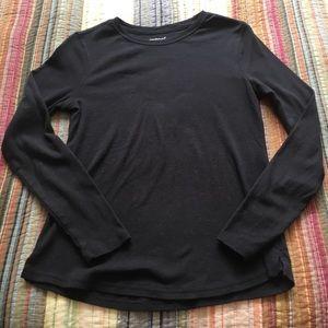 Basic Long Sleeve Black Crew Neck Top Tee Goth EUC